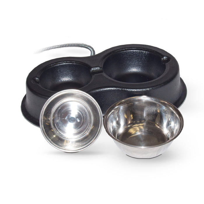 Thermo-Kitty Café Heated Water & Food Bowls For Cats, Stainless Steel Bowls