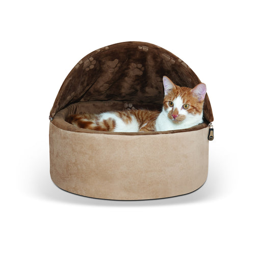 Kitty Bed Hooded Tan Chocolate1