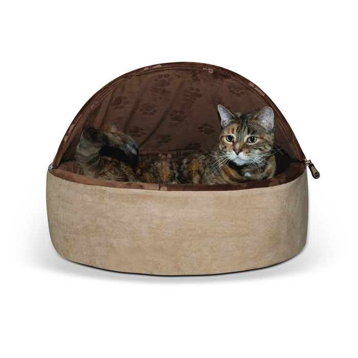 Kitty Bed Hooded Tan Chocolate2