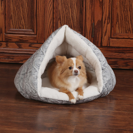 K&H Self-Warming Hut - Gray Paisley, Dog