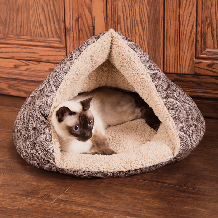 K&H Self-Warming Hut - Brown Paisley, Cat