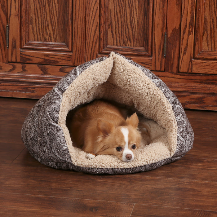K&H Self-Warming Hut - Brown Paisley, Dog