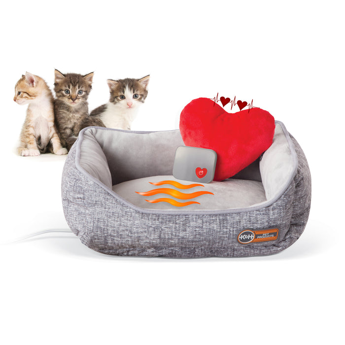 Mother's Heartbeat Heated Kitty Pet Bed with Heart Pillow