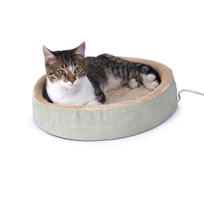 Thermo-Kitty Cuddle Up Heated Cat Bed Sage