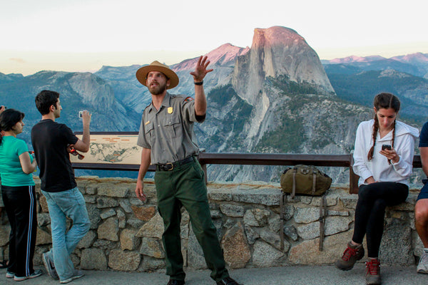 A Ranger Giving a Talk on Yosemite Geography at Glacier Point