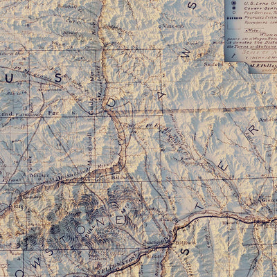 Montana Railroad 1899 Relief Map