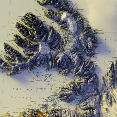 Iceland 1901 Relief Map