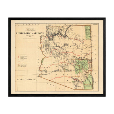Arizona Territory 1876 Map