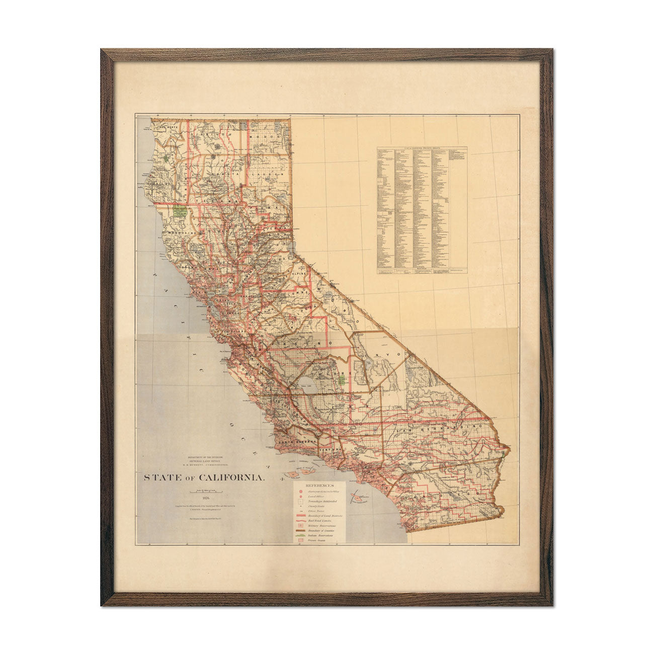 Map of California State 1876