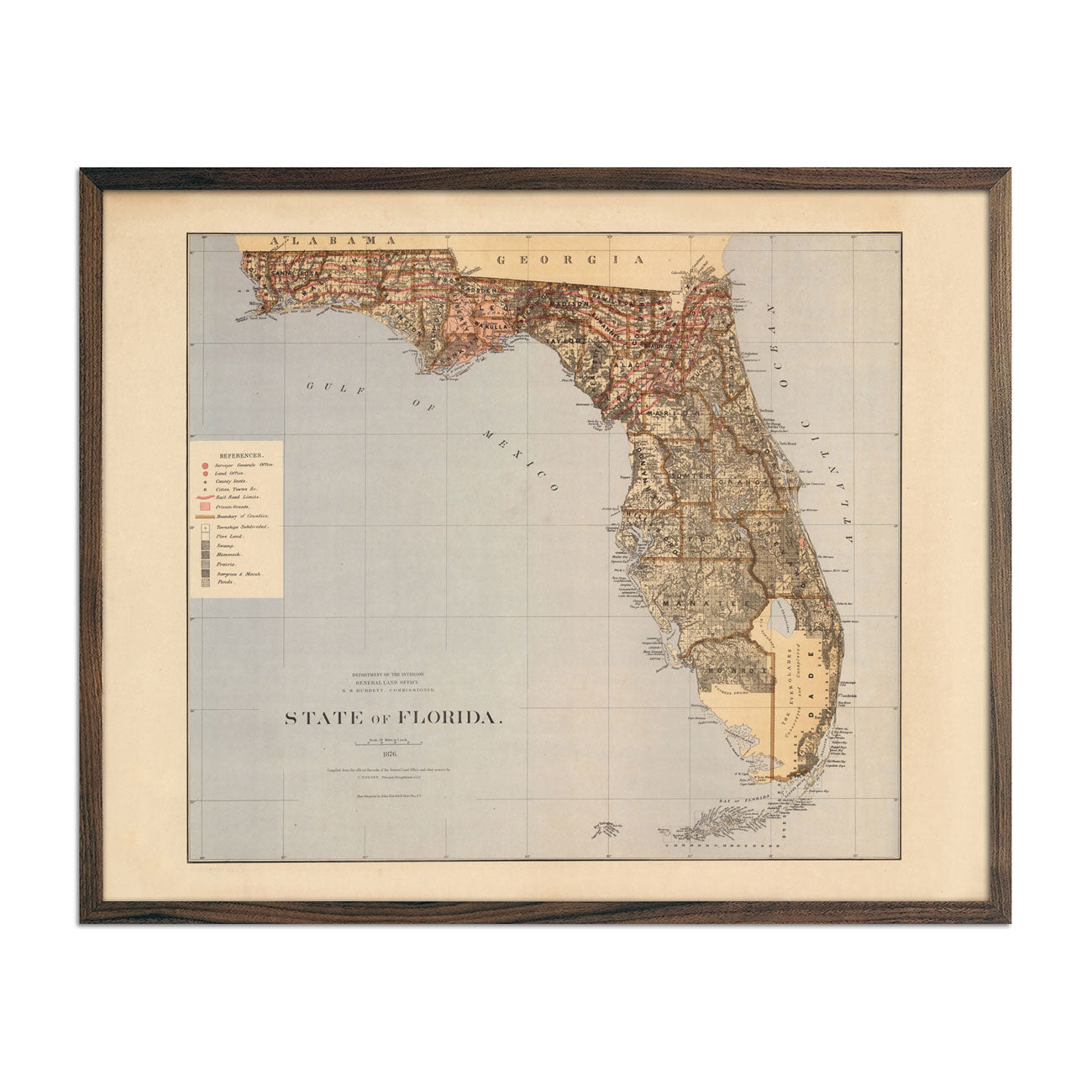 Map of Florida State 1876