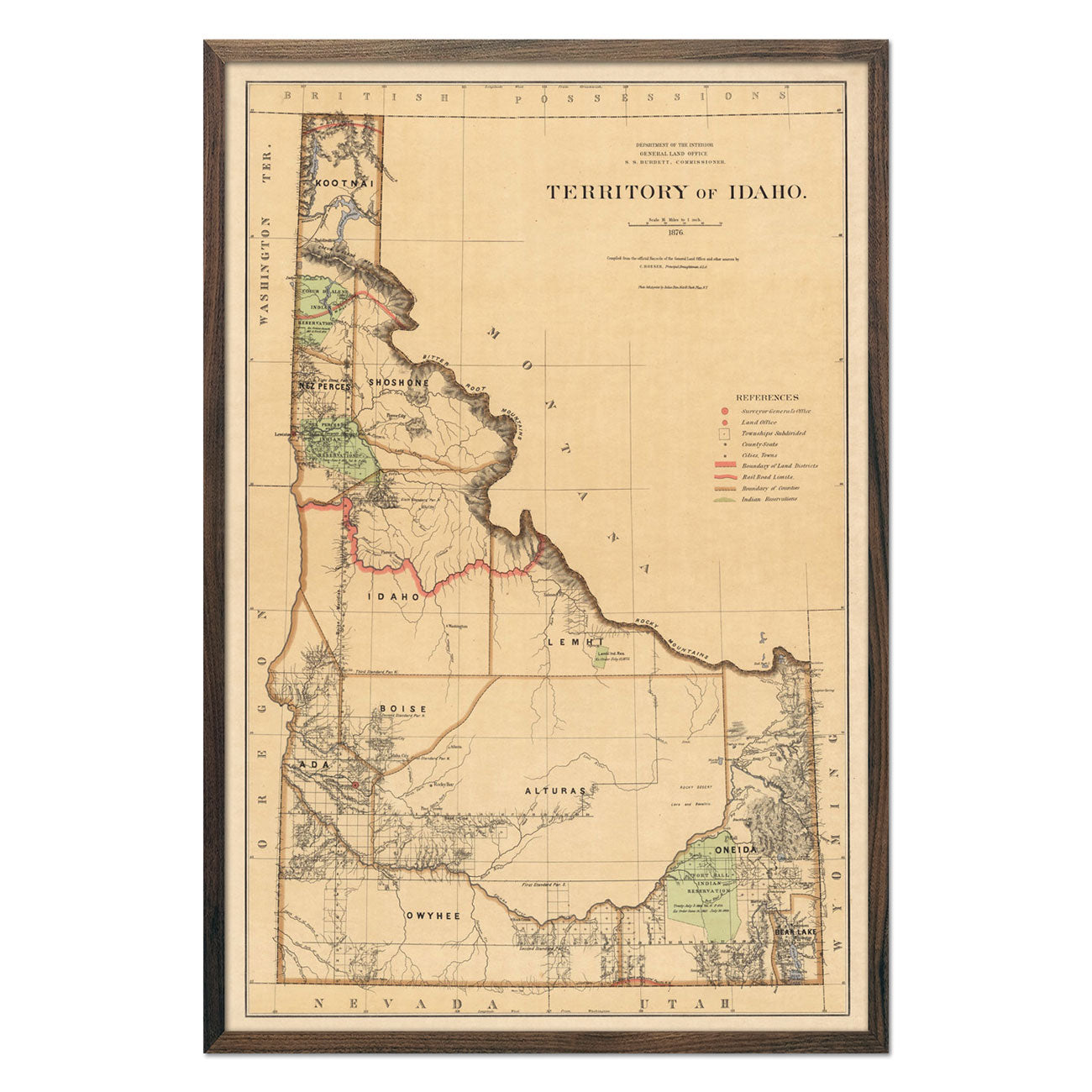 Idaho Territory 1876 Map