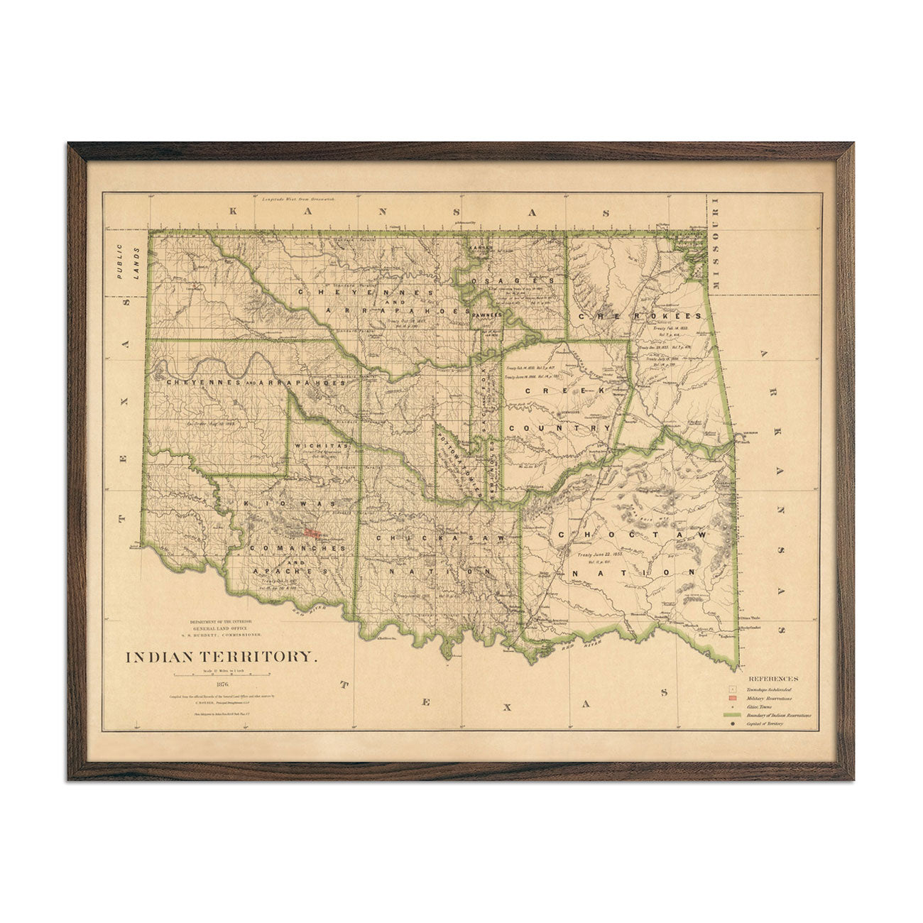 Map of Indian Territory (Oklahoma) 1876