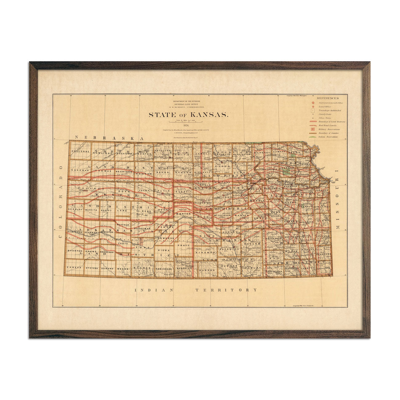Map of Kansas State 1876