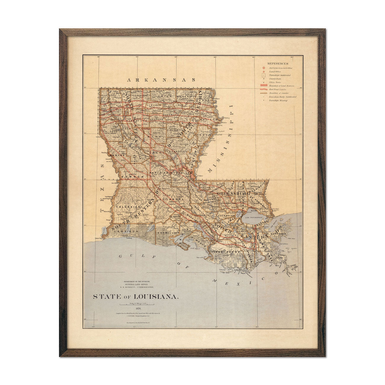 Map of Louisiana State 1876