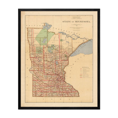 Minnesota State 1876 Map