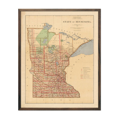 Map of Minnesota State 1876
