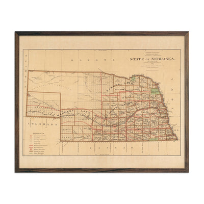 Map of Nebraska State 1876