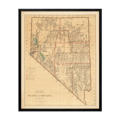 Nevada State 1876 Map