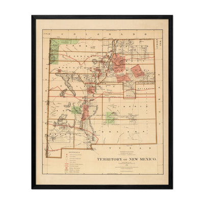 New Mexico Territory 1876 Map