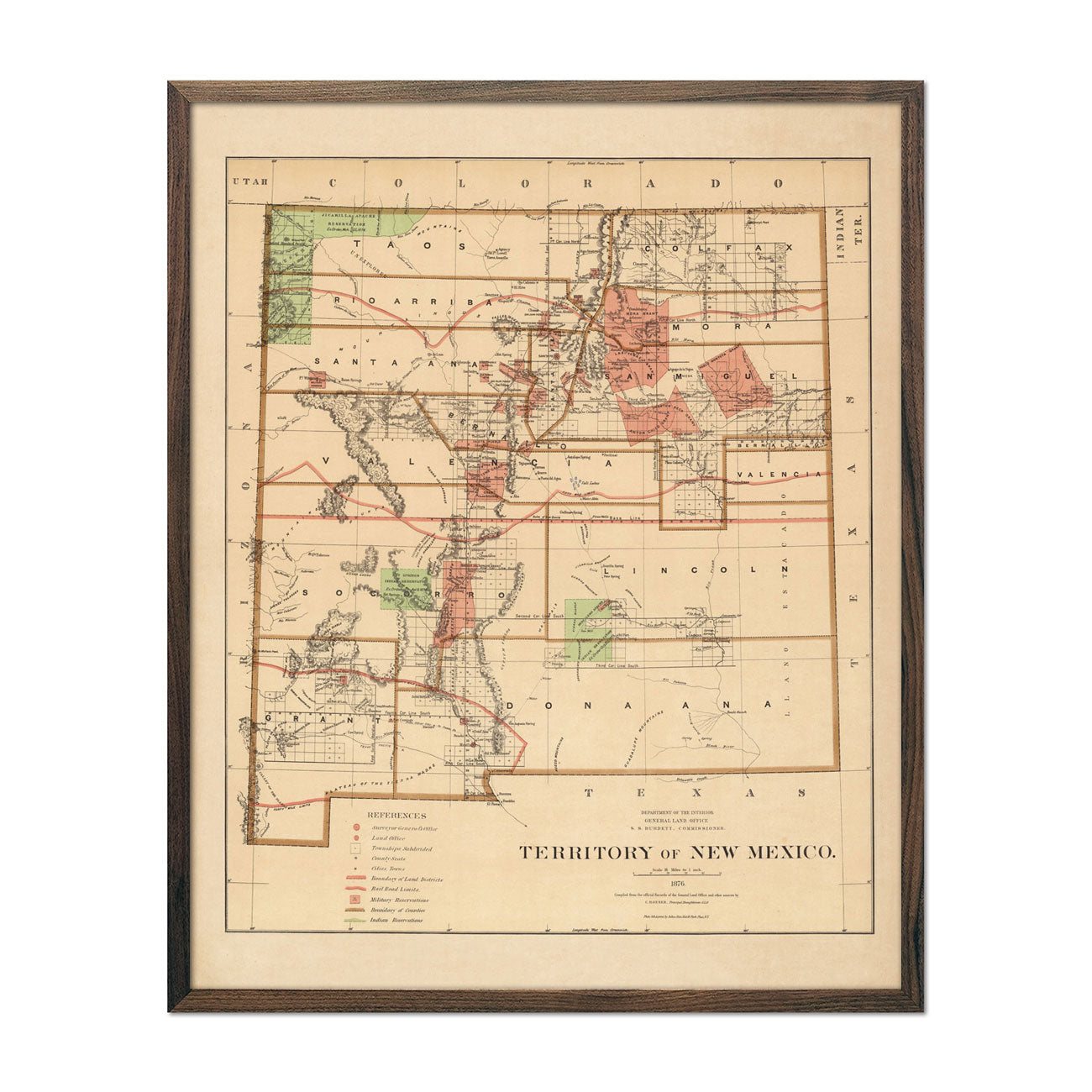 Map of New Mexico Territory 1876