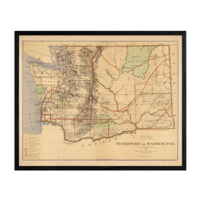 Washington Territory 1876 Map