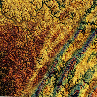 Pennsylvania 1960 Relief Map