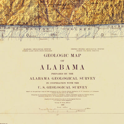 Alabama Geological 1926 Relief Map