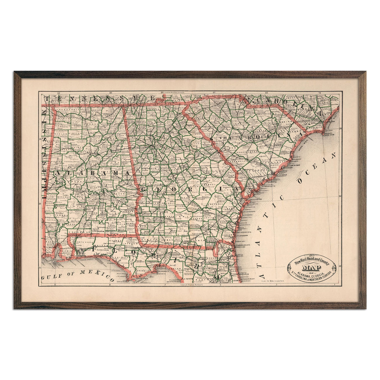 Alabama, Georgia, South Carolina and Northern Florida 1883 Map