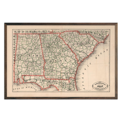 Vintage Map of Alabama, Georgia, South Carolina and Northern Florida 1883