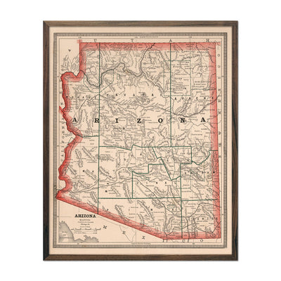 Vintage Map of Arizona 1883