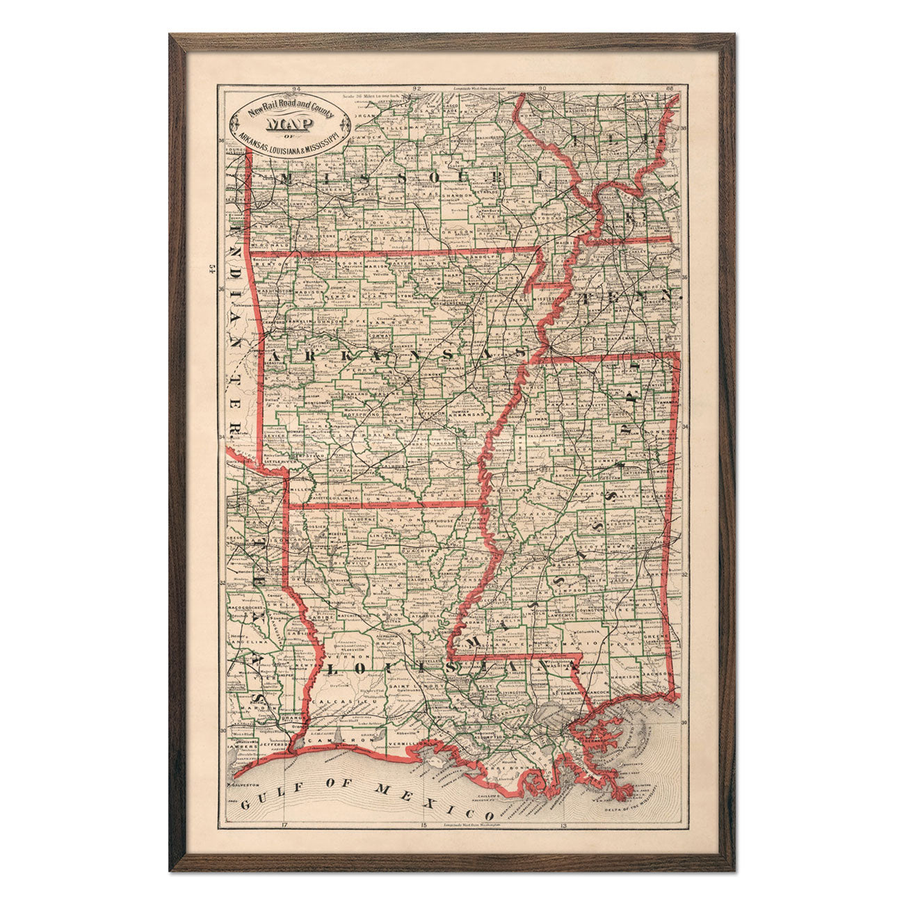 Vintage Map of Arkansas, Louisiana and Mississippi 1883