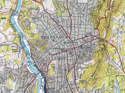 Asheville, NC 1943 USGS Map
