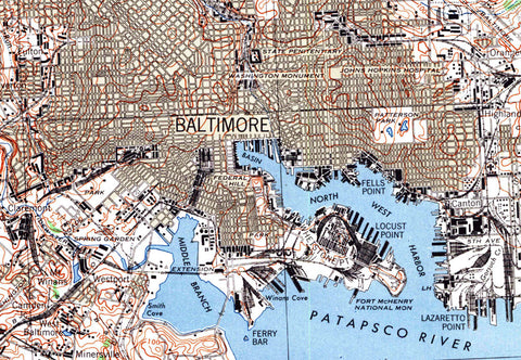 Baltimore MD 1944 USGS Map
