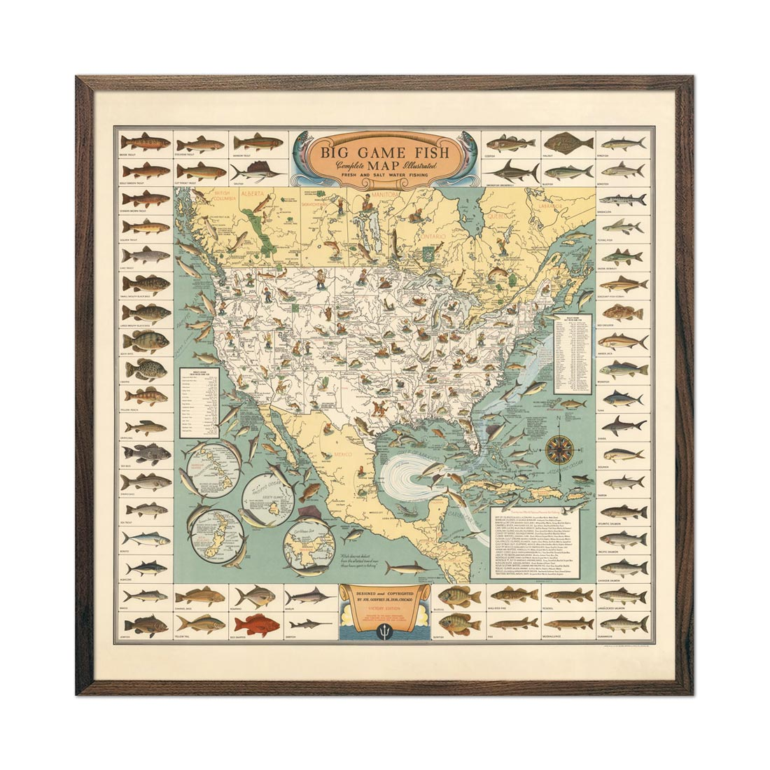 Vintage Big Game Fish Map - 1936
