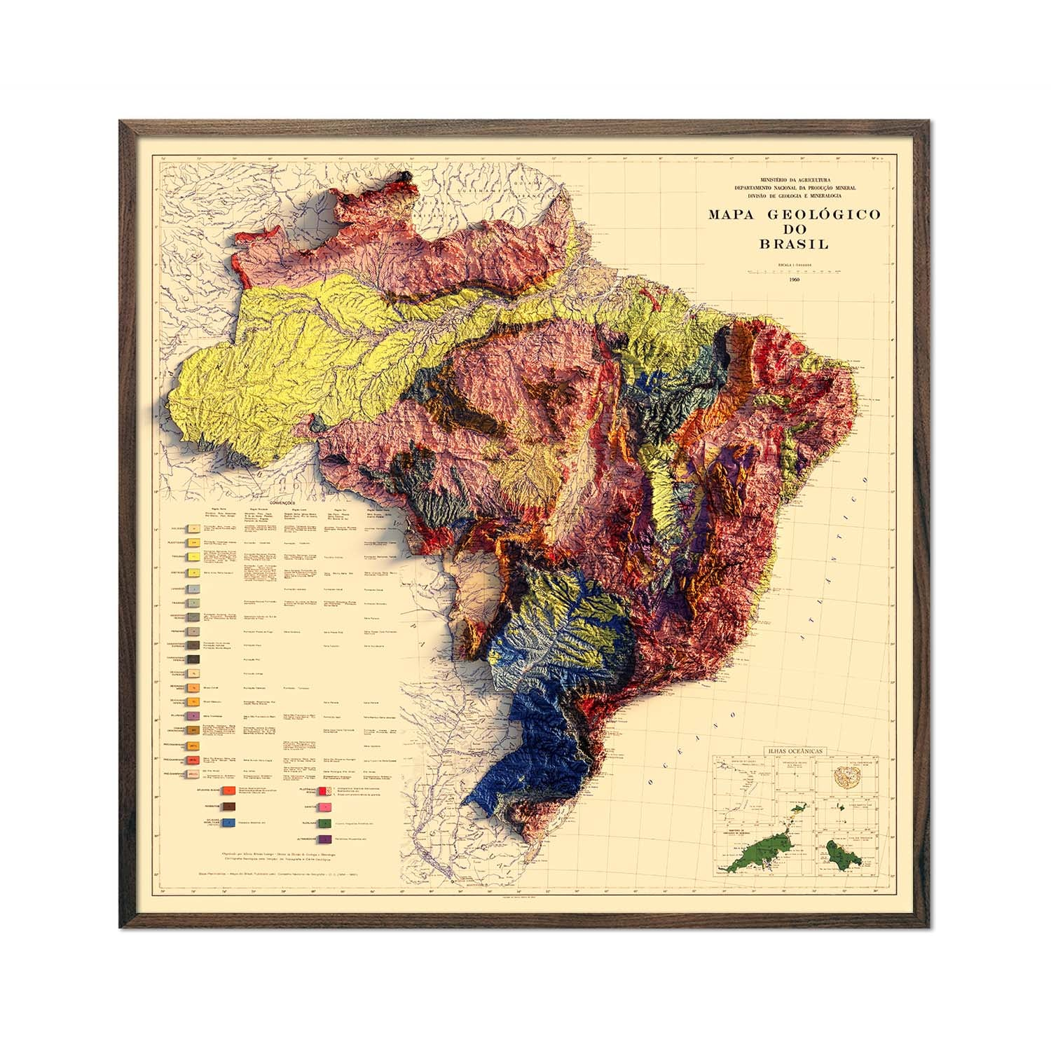 Brazil 1960 Relief Map