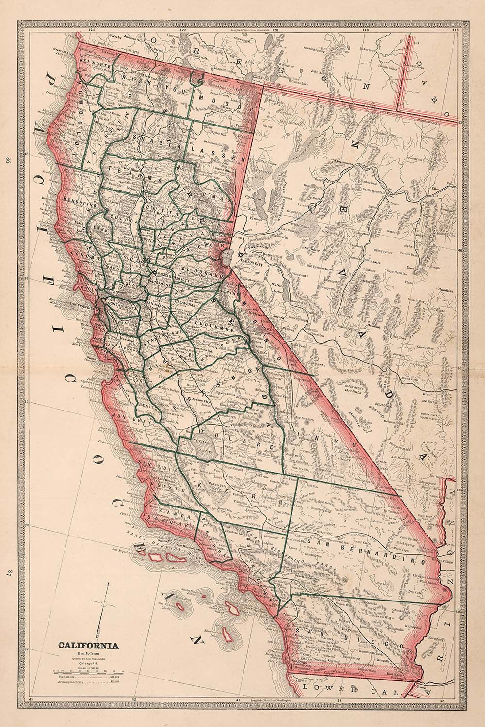 California State Map 1883 - Muir Way
