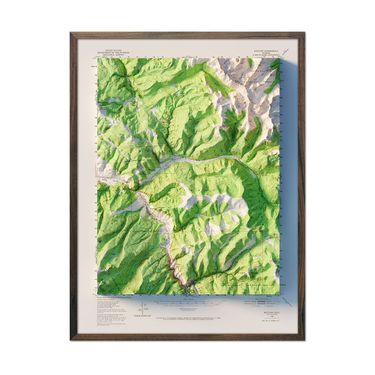 Vail, Colorado 1950 Relief Map