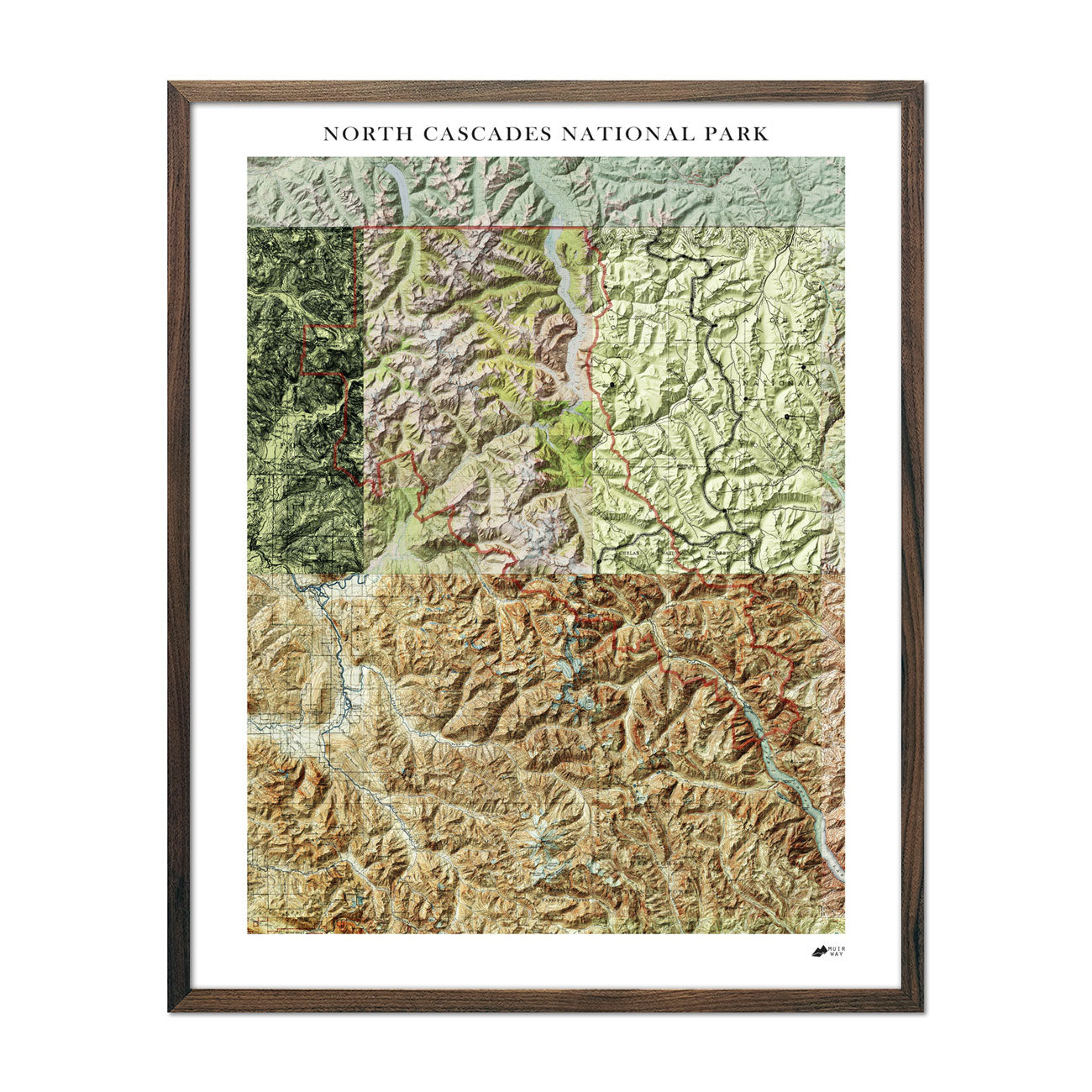Relief Map of North Cascades National Park