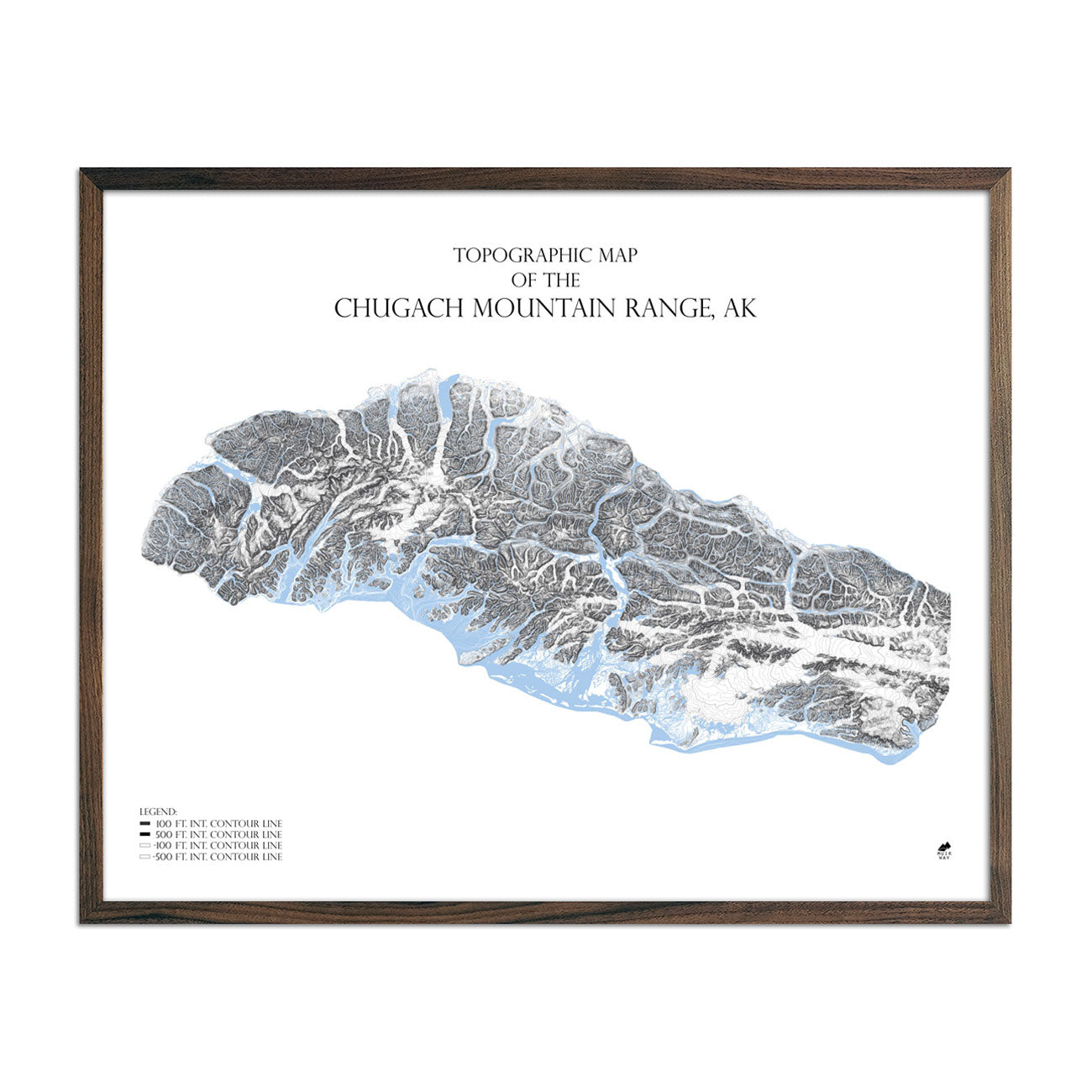 Map of Chugach Mountain Range