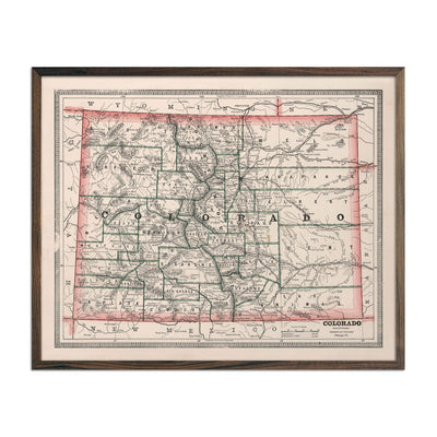 Vintage Map of Colorado 1883