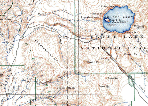 Crater Lake National Park 1937 USGS Map