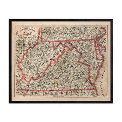 Delaware, Maryland, Virginia and West Virginia 1883 Map