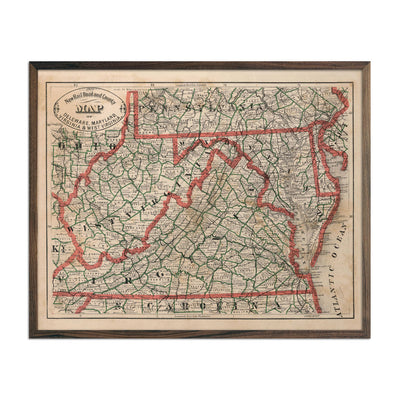 Vintage Map of Delaware, Maryland, Virginia and West Virginia 1883