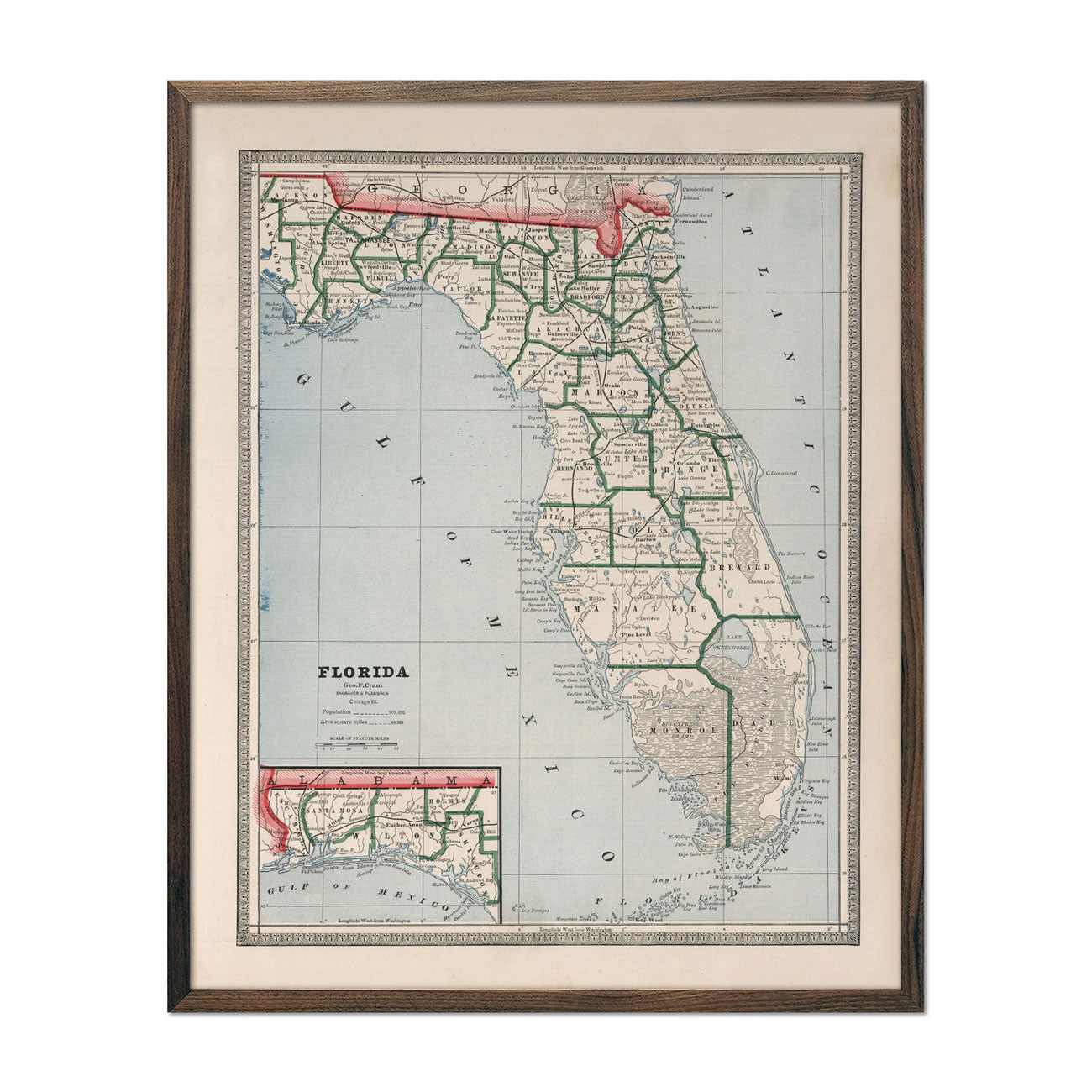 Vintage Map of Florida 1883