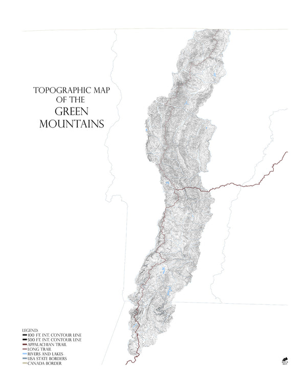 Topographic Map Mountains.Green Mountains Featuring The Long Trail Range Series Muir Way