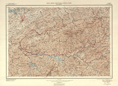 Great Smoky Mountains National Park Map 1953