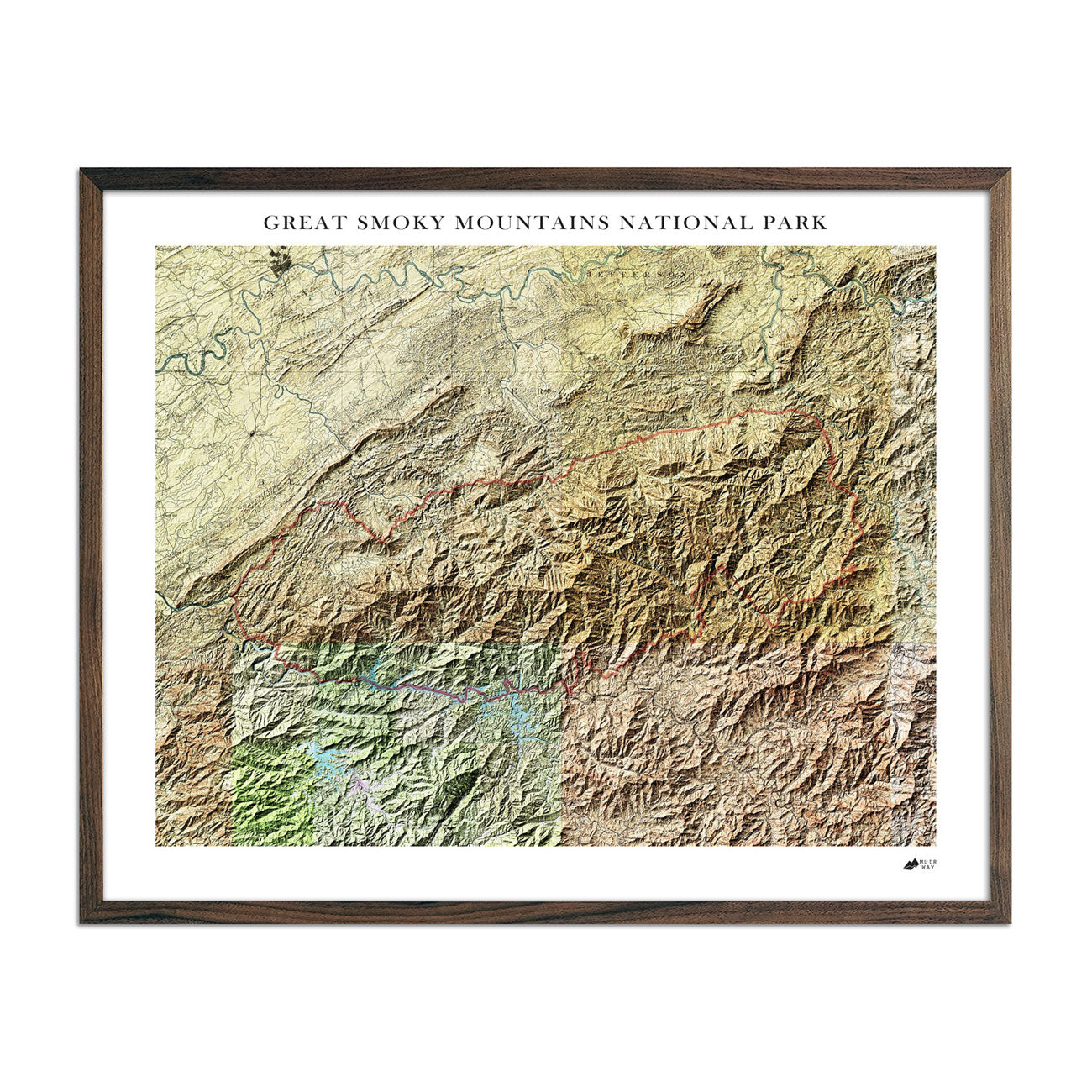 Relief Map of Great Smoky Mountains National Park