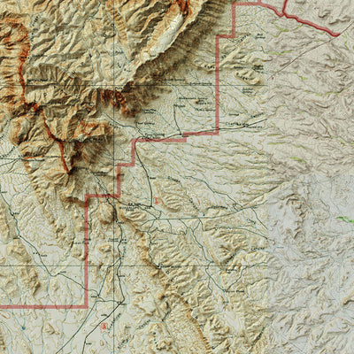Guadalupe Mountains Relief Map
