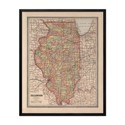 Illinois 1883 Map