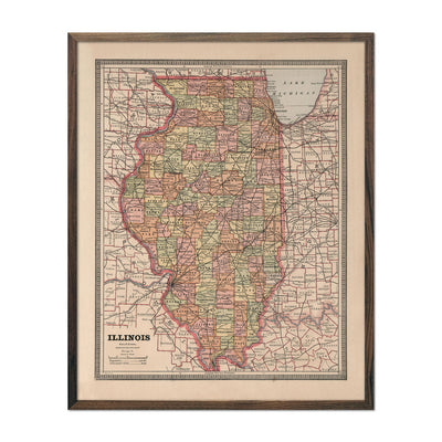 Vintage Map of Illinois 1883